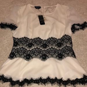 BEBE Blouse with Lace Design